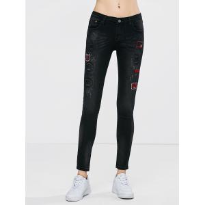 Patched Embroidered Skinny Jeans