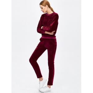 Crew Neck Letter Embroidered Sweat Suit - BURGUNDY XL