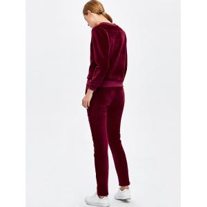 Crew Neck Letter Embroidered Sweat Suit - BURGUNDY M