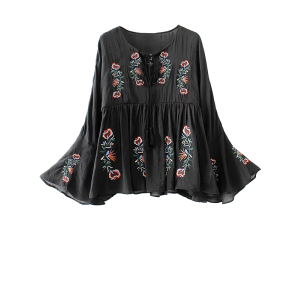 Mexican Embroidered Lace Up Flare Sleeve Blouse - Black - M