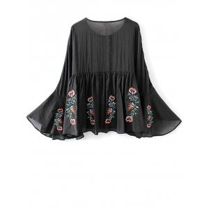 Mexican Embroidered Lace Up Flare Sleeve Blouse - BLACK M