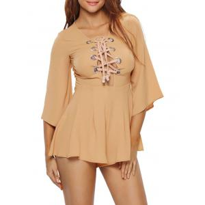 Lace Up Plunge Romper
