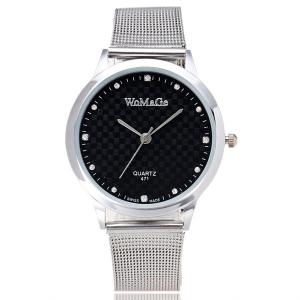 Rhinestone Stainless Steel Wrist Watch - White And Black