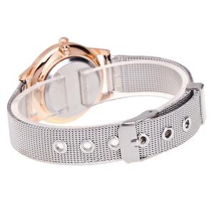 Rhinestone Stainless Steel Wrist Watch - GOLD AND WHITE