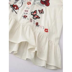Floral Embroidered Flounce Blouse -
