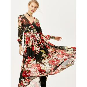 See Thru Floral Surplice Chiffon Maxi Dress with Sleeves -