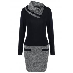 Funnel Neck Color Block Fitted Dress - BLACK/GREY 3XL