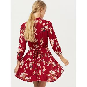 Floral Long Sleeve Wrap Casual Dress - RED M