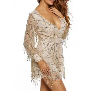 Plunging Neck Fringed Sequined Romper - WHITE M