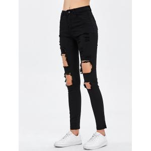 Destroyed Bodycon Jeans - BLACK 2XL