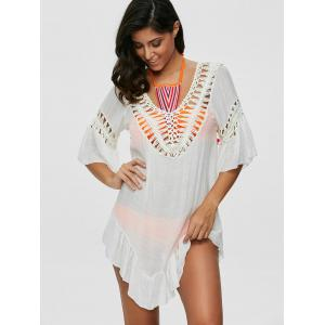 Pompon See-Through Crochet Tunic Beach Cover Up -