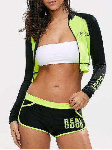 Sale Color Block Crop Sweatshirt with Shorts - XL FLUORESCENT YELLOW Mobile
