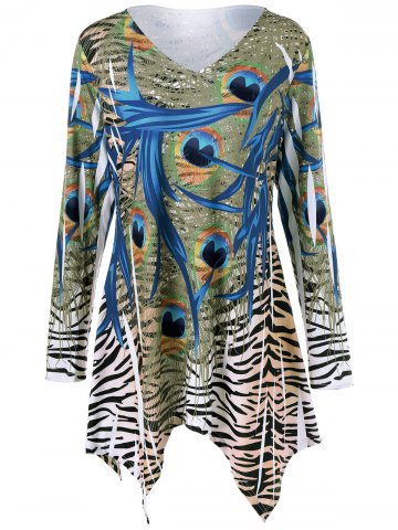 Plus Size Zebra Print Asymmetrical T-Shirt - COLORMIX 2XL