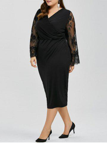 Long Sleeves Splicing Lace Bodycon Dress - BLACK 6XL