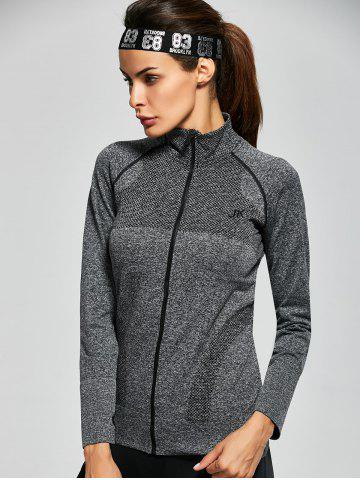 Shop Quick Dry Zipper Work Out Running Jacket - S GRAY Mobile