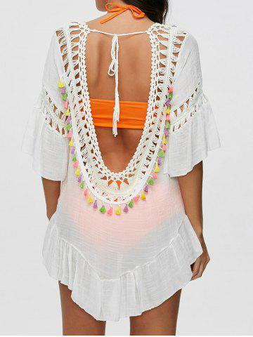 Outfit Colored Tassel See-Through Crochet Tunic Cover Up