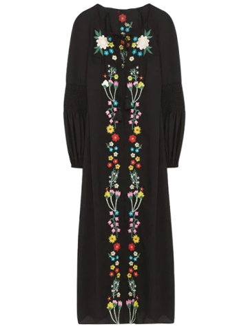Shops Floral Embroidered Long Sleeve Midi Dress