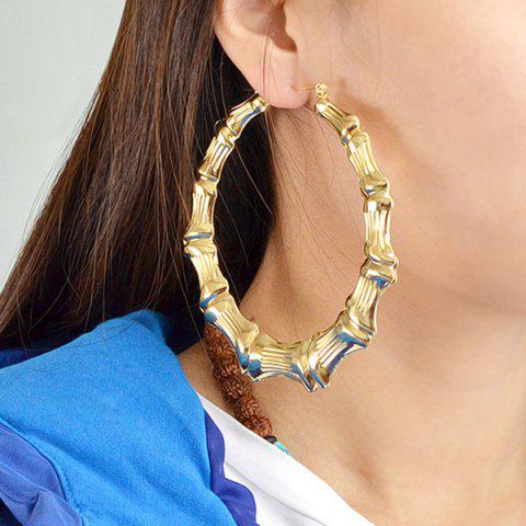 Unique Bamboo Statement Hoop Earrings GOLDEN