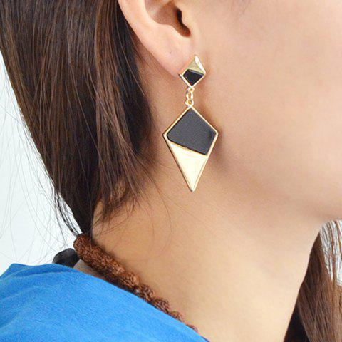Color Block Drop Earrings - Black