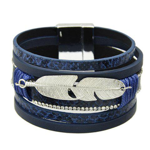 Trendy Faux Leather Feather Strand Bracelet BLUE