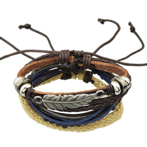 Discount Feather Faux Leather Wrap Bracelet - BROWN  Mobile