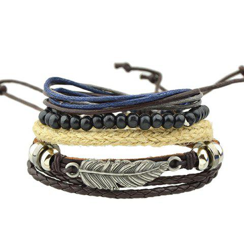 Outfit Feather Faux Leather Wrap Bracelet - BROWN  Mobile
