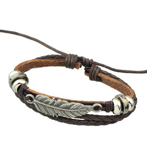 New Feather Faux Leather Wrap Bracelet - BROWN  Mobile