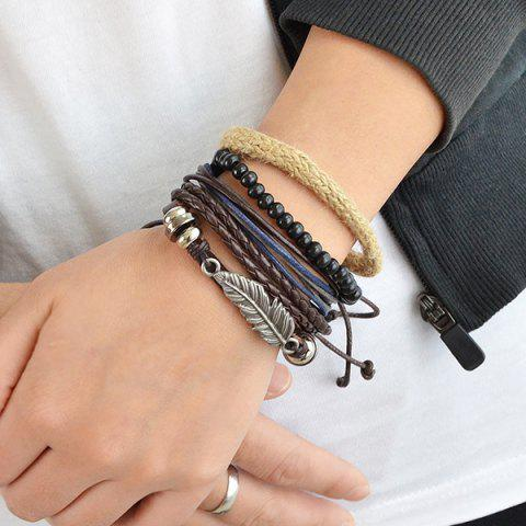 Chic Feather Faux Leather Wrap Bracelet - BROWN  Mobile
