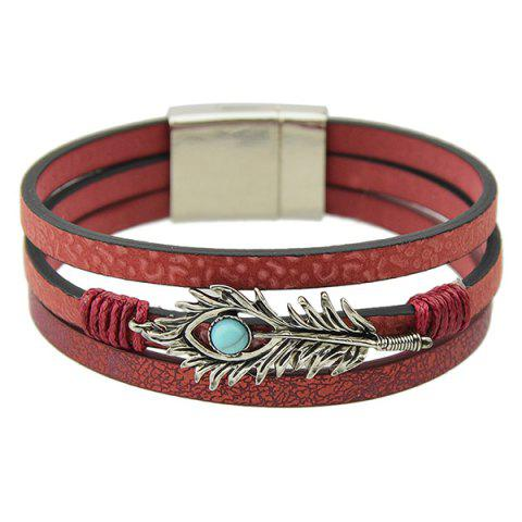 Punk Layered Leaf Faux Leather Bracelet - Red