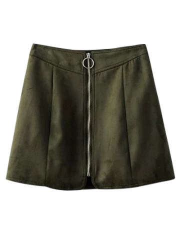 Zippered Suede Mini Skirt - BLACKISH GREEN L