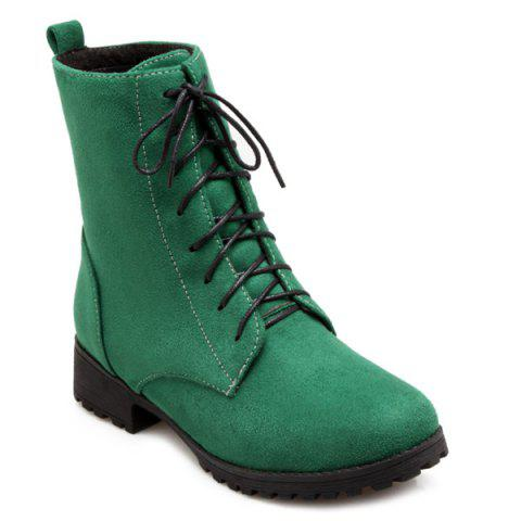 Buy Round Toe Tie Short Boots - Green 38