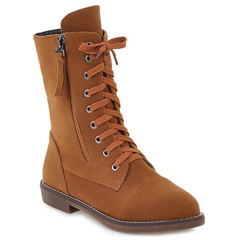 Buy Tie Zip Short Boots - Brown 38
