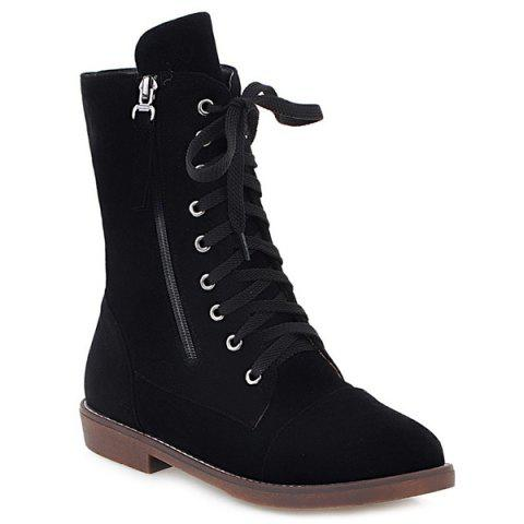 Buy Tie Zip Short Boots - Black 38