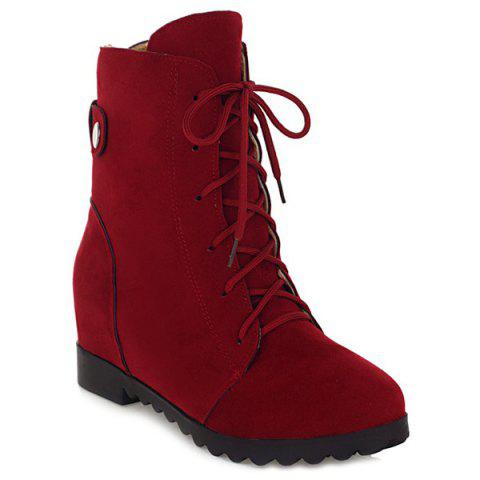 Buy Suede Hidden Wedge Ankle Boots - Deep Red 39