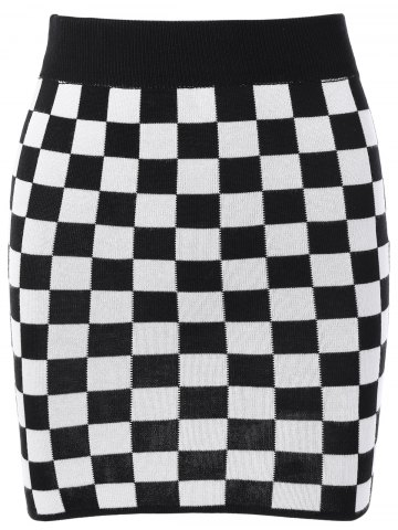 Outfit Checked Mini Knit Plaid Pencil Skirt