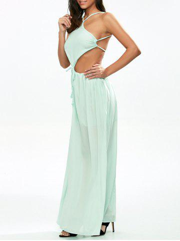 Chiffon Low Back Cut Out Maxi Dress - Light Green - S