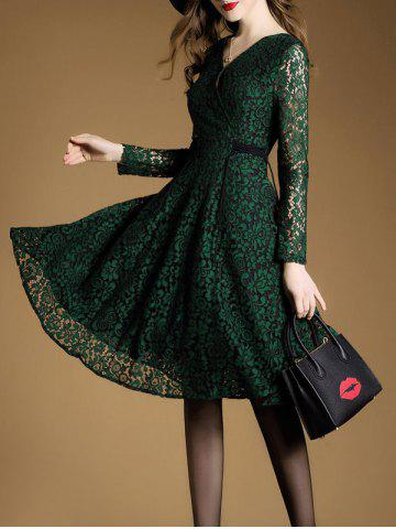 Outfit Lace A Line Swing Dress with Sleeves - XL BLACKISH GREEN Mobile