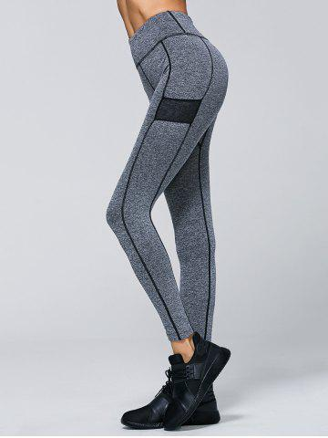 New High Waisted Contrast Trim Sporty Leggings - M GRAY Mobile