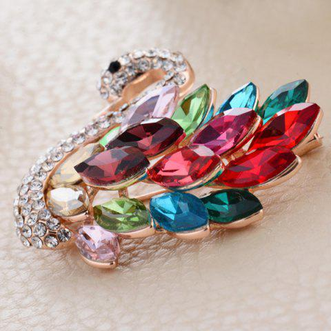 Discount Rhinestone Faux Crystal Swan Shape Design Brooch - COLORFUL  Mobile