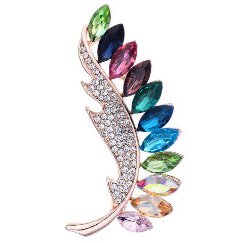 New Colorful Faux Crystal Leaf Shape Design Brooch - COLORFUL  Mobile
