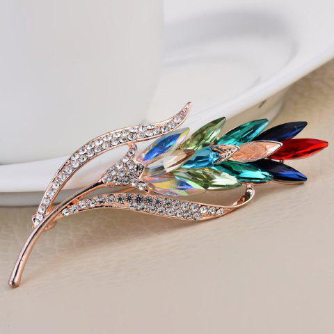 Shops Colorful Faux Crystal Wheat Shape Design Brooch - COLORFUL  Mobile