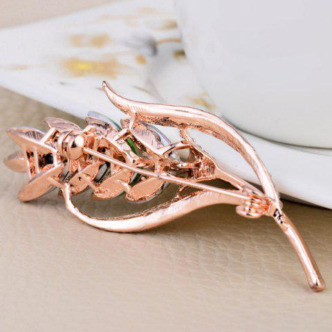 Sale Colorful Faux Crystal Wheat Shape Design Brooch - COLORFUL  Mobile