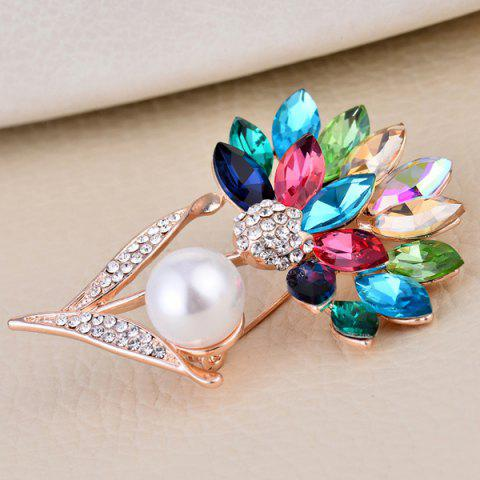 Sale Faux Crystal and Pearl Flower Shape Design Brooch - COLORFUL  Mobile
