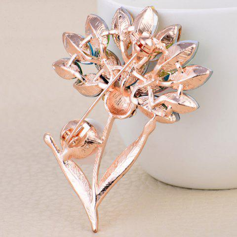 Online Faux Crystal and Pearl Flower Shape Design Brooch - COLORFUL  Mobile