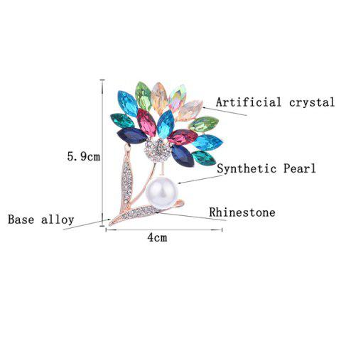 Discount Faux Crystal and Pearl Flower Shape Design Brooch - COLORFUL  Mobile