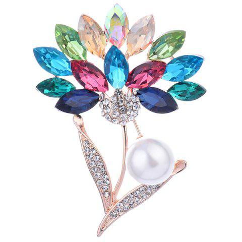 Shops Faux Crystal and Pearl Flower Shape Design Brooch - COLORFUL  Mobile