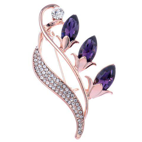Sale Faux Crystal Flower Bud Shape Design Brooch - PURPLE  Mobile