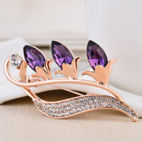 Online Faux Crystal Flower Bud Shape Design Brooch - PURPLE  Mobile