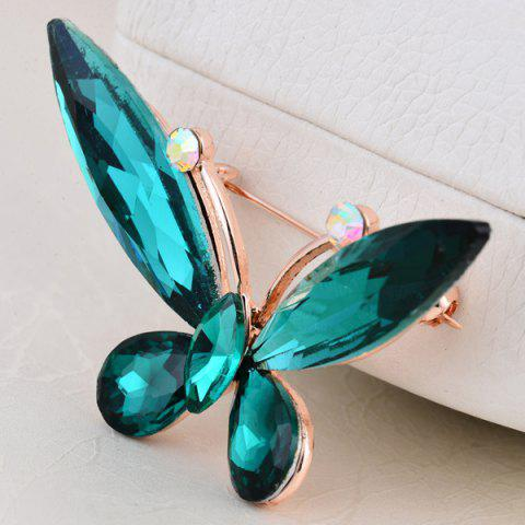Outfits Faux Crystal Butterfly Shape Design Brooch - BLACKISH GREEN  Mobile