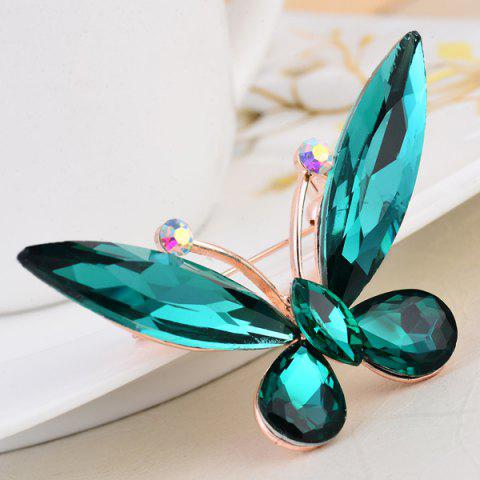 Unique Faux Crystal Butterfly Shape Design Brooch - BLACKISH GREEN  Mobile